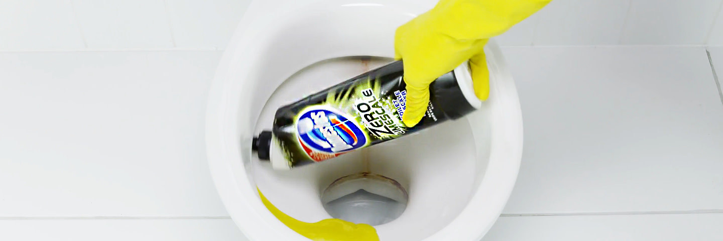 Zero Limescale product used to clean a toilet