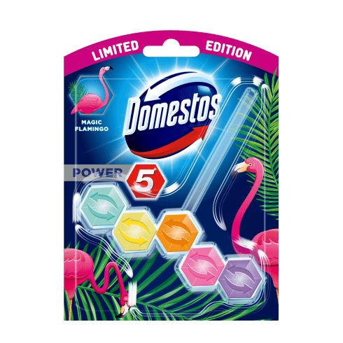 Domestos power5 wc frissítő blokk flamingo