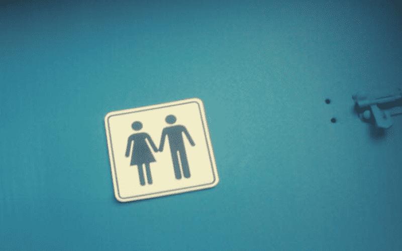 синяя дверь туалета