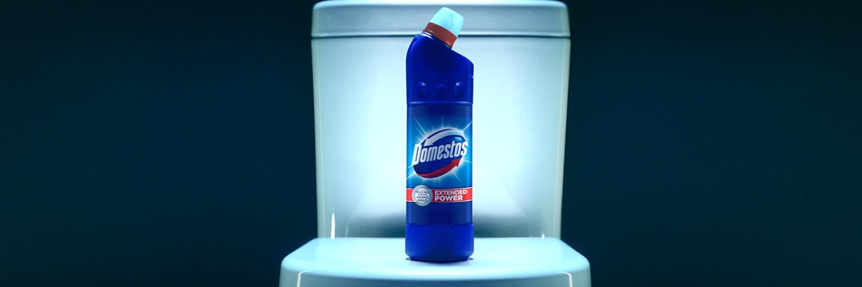 Domestos bottle on a toilet