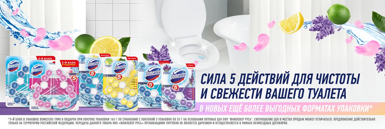 Туалетные блоки Domestos Power 5: чистота, гигиена, антиналет