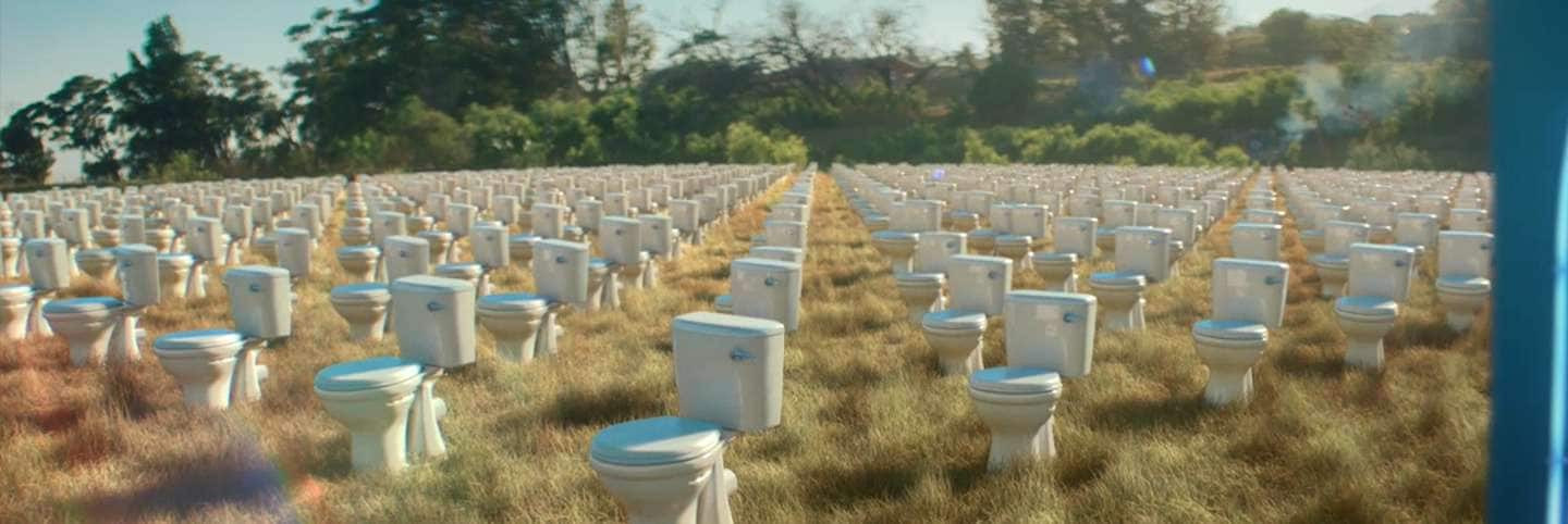 Field with toilets